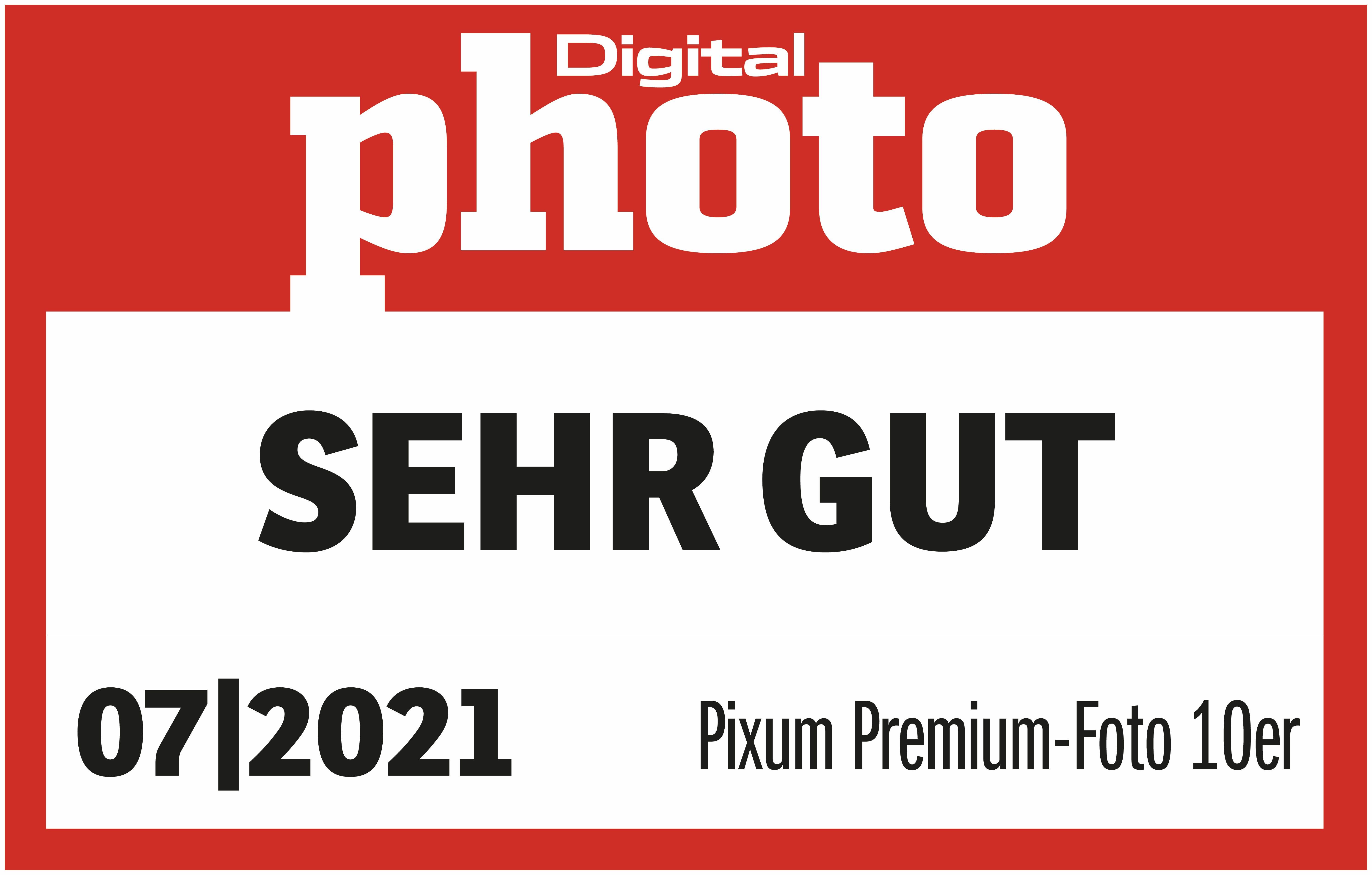 """Test-Logo """"Sehr gut"""" DigitalPHOTO 10er Premium-Foto 07/2021"""