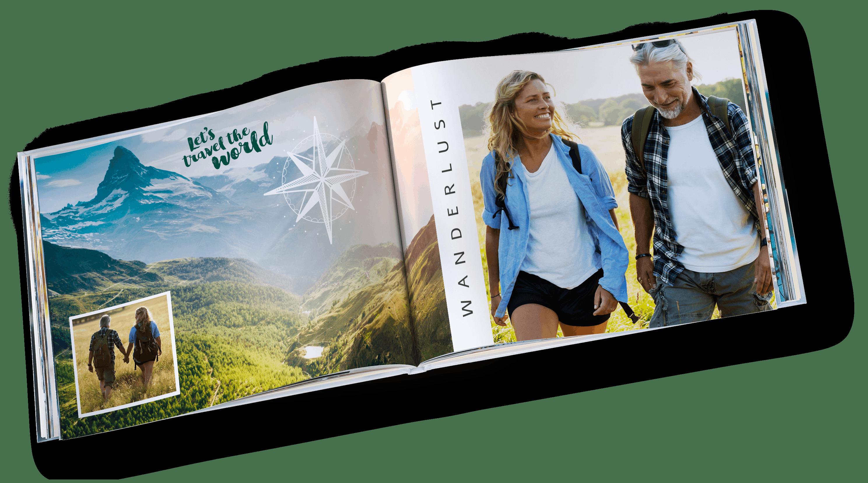 Pixum Fotobuch im Querformat mit Wanderunrlaub Motiven