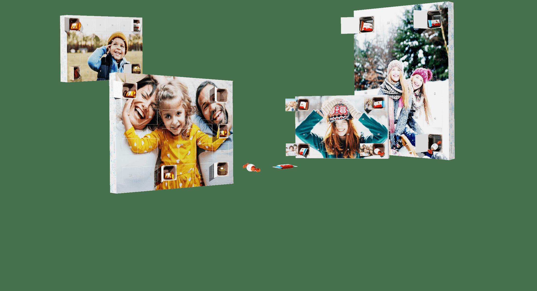 Foto-Adventkalender mit Schokoladen von kinder® und Ferrero Pralinen